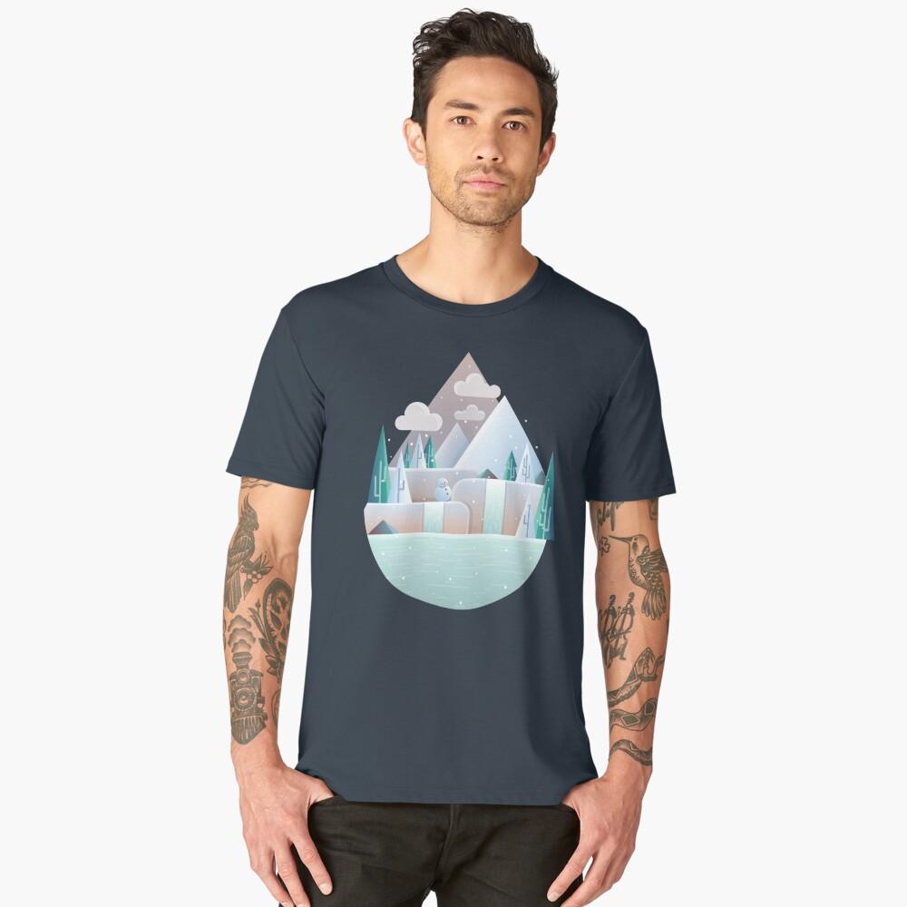 Flat winter landscape illustration Men's Premium T-Shirt Front