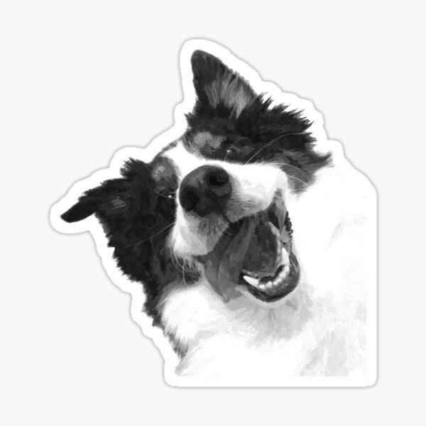 Black and White Happy Dog Sticker