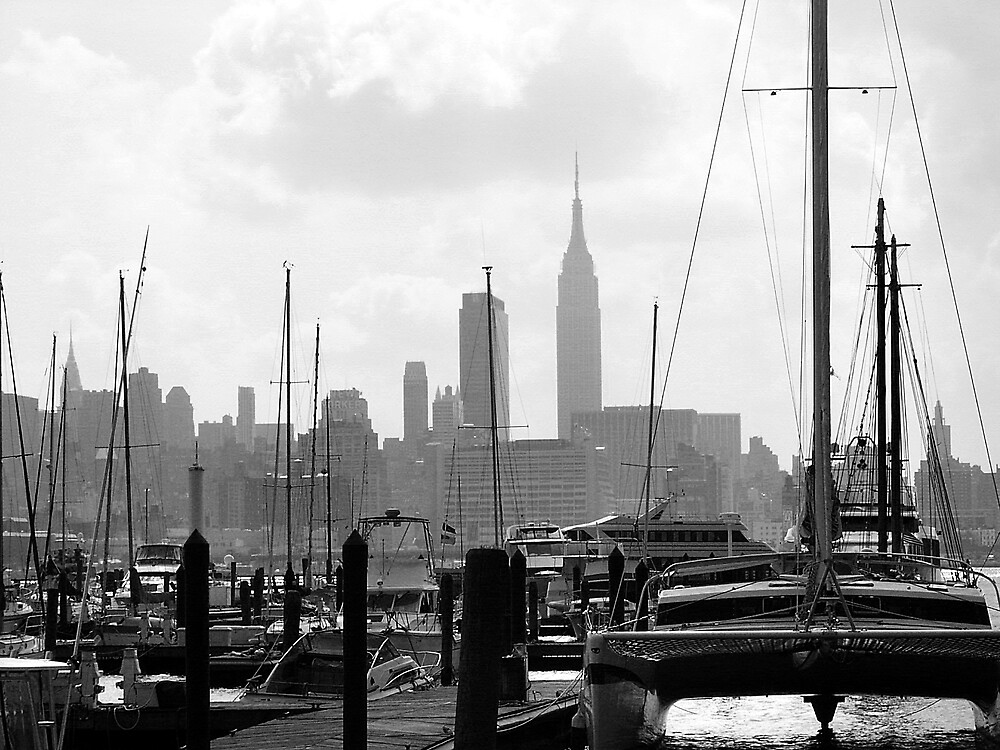 Masts on the Hudson by Ernest Strawser