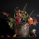 Still life - summer flowers in copper kettle.  by SADHYA