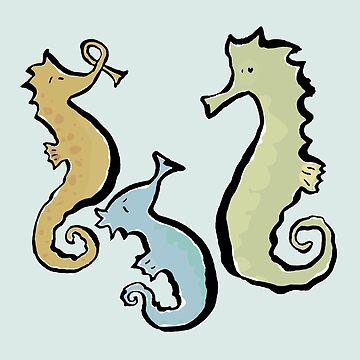 swinging seahorses by greendeer