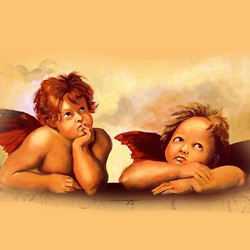 After Raphael: Two Angel Cherubs, Painting by Joyce