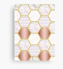 Blush Hexagonal Marble Canvas Print