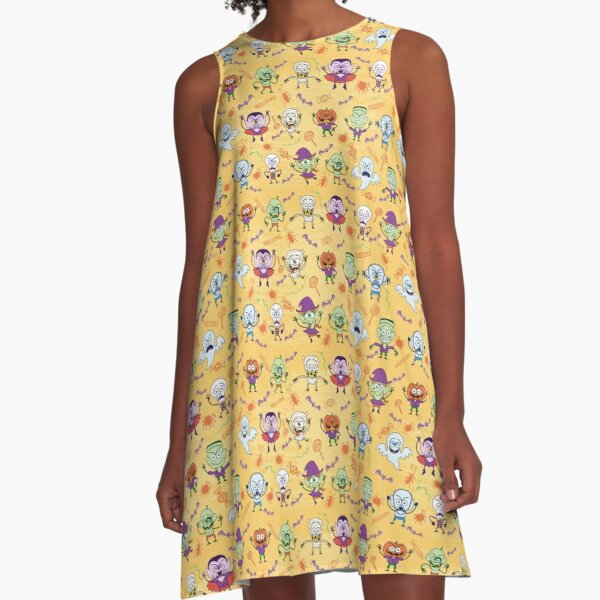 Funny Halloween characters pattern A-Line Dress