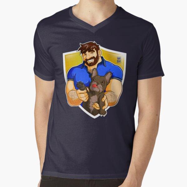 ADAM LIKES FRENCHIES - BRINDLE BULLDOG V-Neck T-Shirt