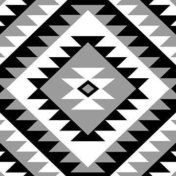 Aztec Motif Diamond Black White Gray by NataliePaskell
