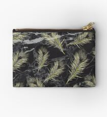 Gold Feathers vs. Black Marble Studio Pouch