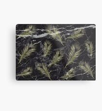 Gold Feathers vs. Black Marble Metal Print