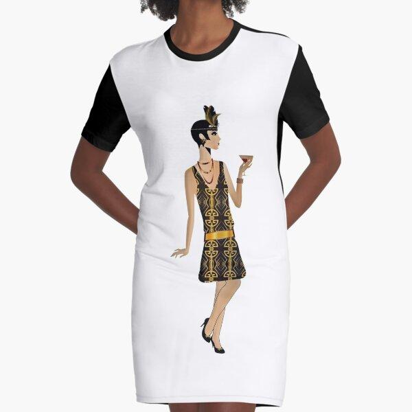 Great Gatsby Flapper - 1920s Dress  Graphic T-Shirt Dress