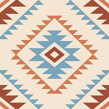 Aztec Style Motif Pattern Blue Cream Terracottas by NataliePaskell