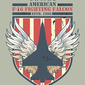 F-16 Fighter jet Distressed Flag | Aviation T-Shirt by JohnPhillips