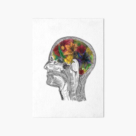MRI Brain Flowers - Neuroscience Art - Medical Art Art Board Print