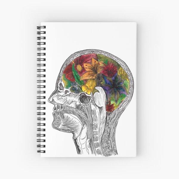 MRI Brain Flowers - Neuroscience Art - Medical Art Spiral Notebook