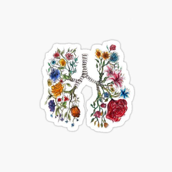 Lung Anatomy and Flowers Art  Sticker
