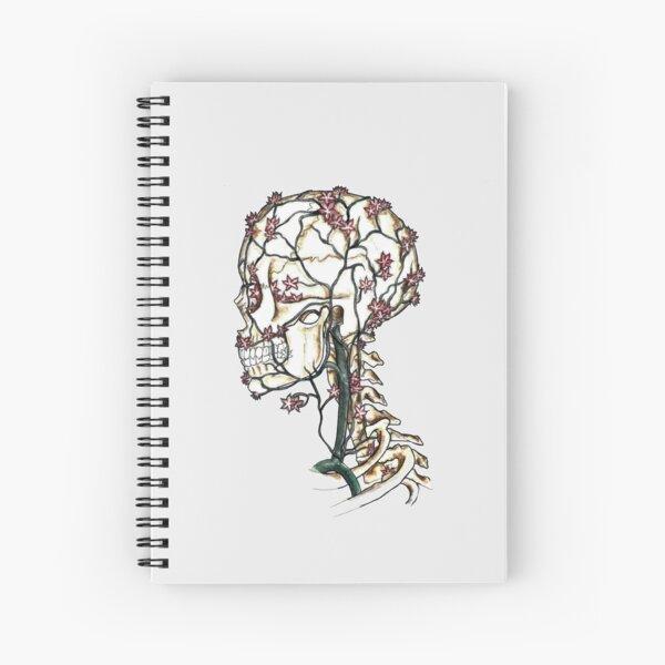Flowers Perfuse the Skull - Skeleton Anatomy Art  Spiral Notebook