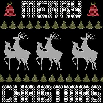 Ugly Christmas Sweater Funny Reindeer Holiday Deer by ccheshiredesign