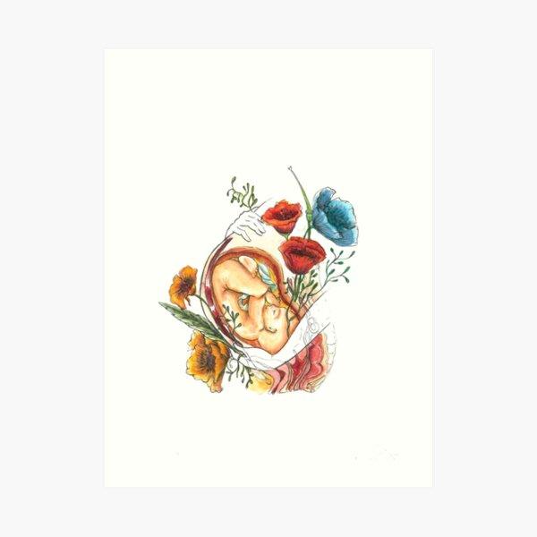 Flores y Bebés - Arte Anatomía del Embarazo Lámina artística