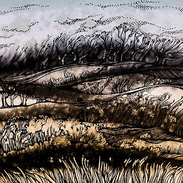 Winter.Hand draw  ink and pen, Watercolor, on textured paper by kanvisstyle