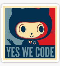 """Yes We Code"" Baracktocat Octocat Sticker"