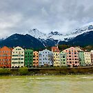 Row Buildings on the Inn River in Innsbruck, Austria by Kent Nickell