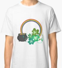 Irish Shamrocks and Gold at the end of the rainbow Classic T-Shirt