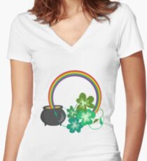 Irish Shamrocks and Gold at the end of the rainbow Women's Fitted V-Neck T-Shirt