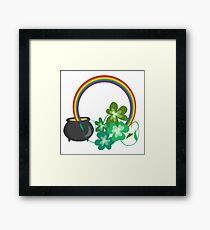 Irish Shamrocks and Gold at the end of the rainbow Framed Print