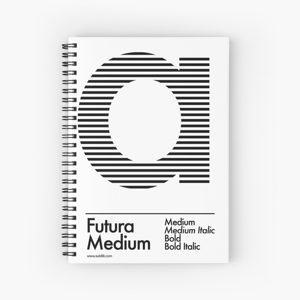The Letter a Futura Type Spiral Notebook