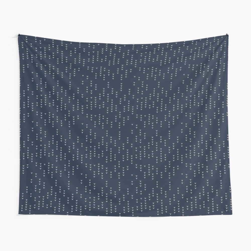 White Arrows on Indigo Blue - Modern Basics Collection Wall Tapestry