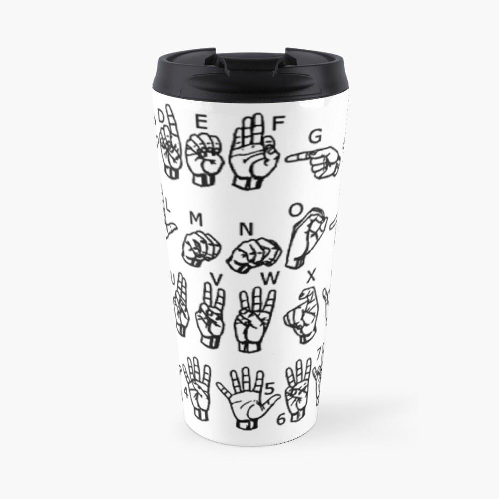 American Sign Language Alphabet Travel Mug