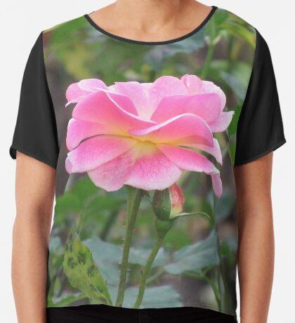 Königin der Blumen - eine wundervolle pinke Rose, Rosen  Chiffontop für Frauen