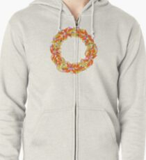 Autumnal Wreath Zipped Hoodie
