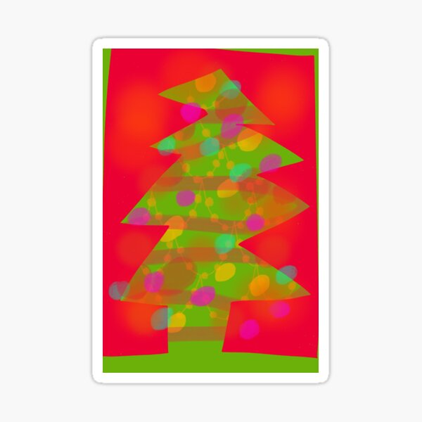 Red and Green Retro Christmas Tree Sticker