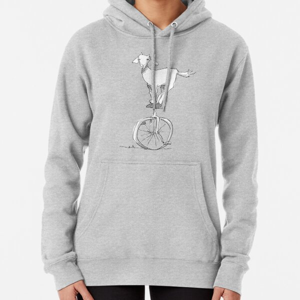 Goat on a unicycle Pullover Hoodie