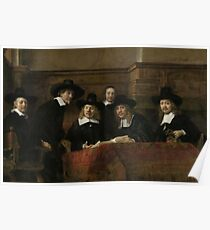Painting - The Wardens of the Amsterdam Drapers' Guild, Known as 'The Syndics', Rembrandt Harmensz. van Rijn, 1662 Poster
