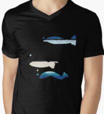 Expressive Fishes T-Shirt mit V-Ausschnitt