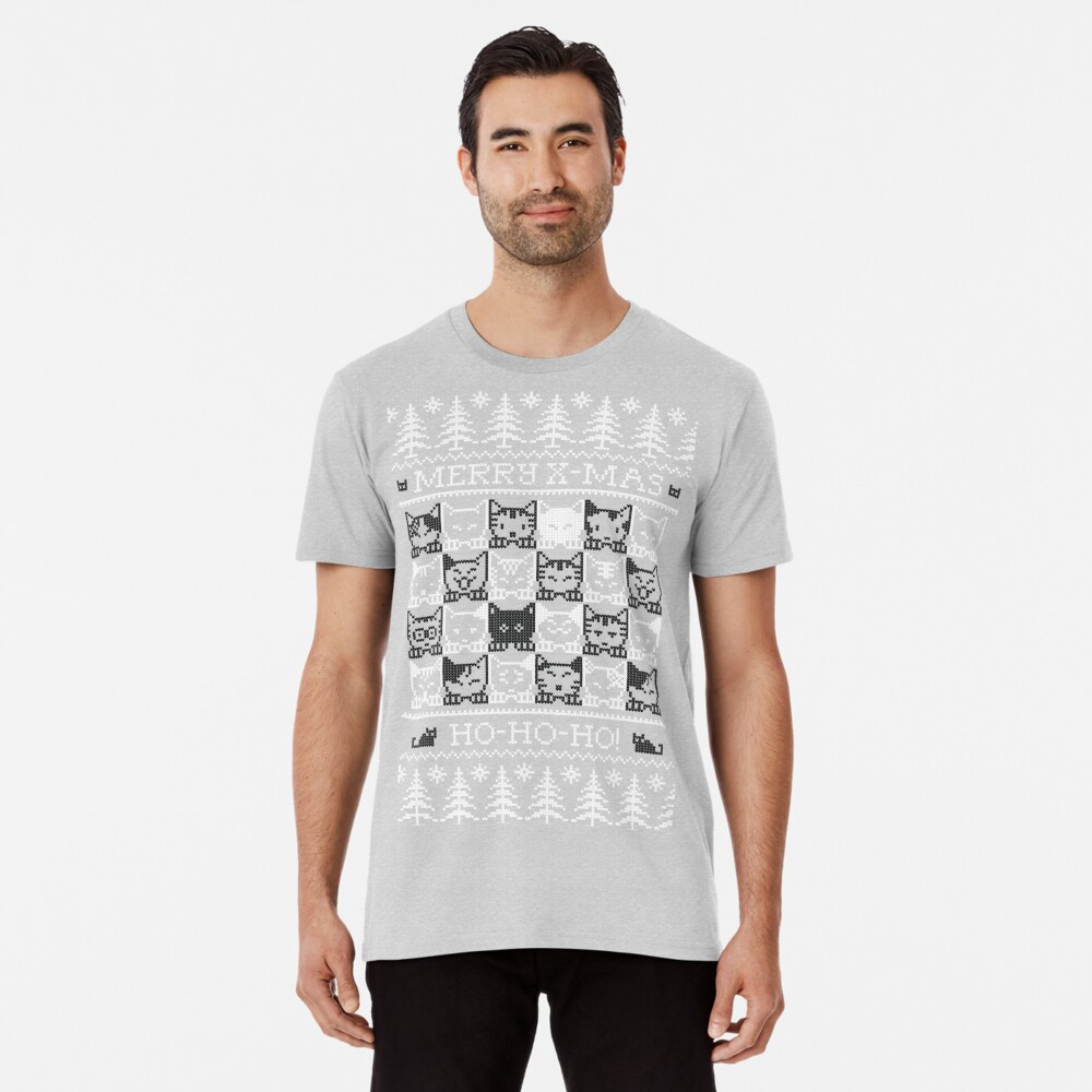Merry Christmas with black and white cats Camiseta premium