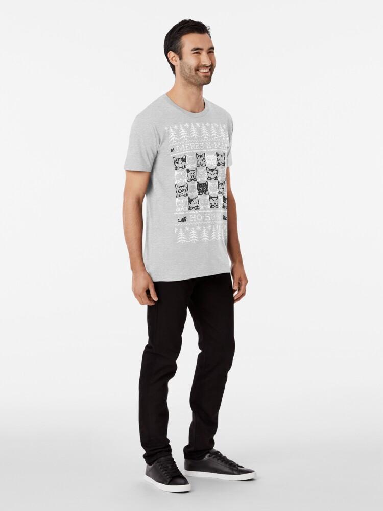 Vista alternativa de Camiseta premium Merry Christmas with black and white cats