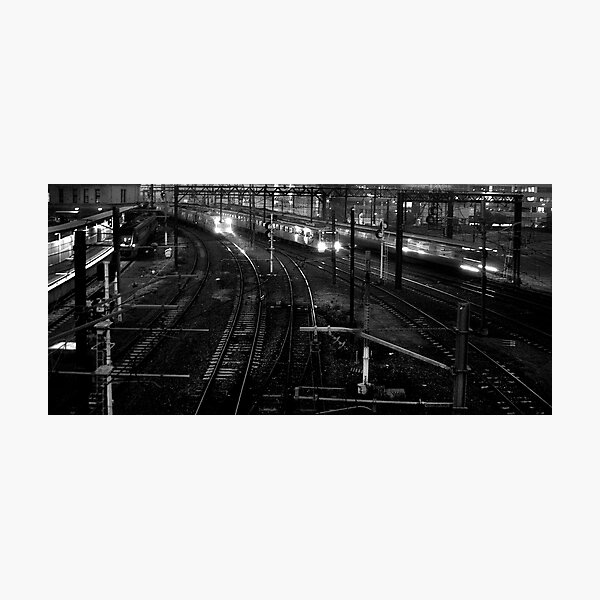 Trains in the night Photographic Print