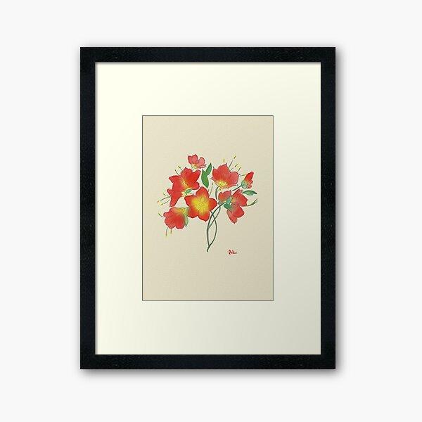 Red Loose Flower Framed Art Print