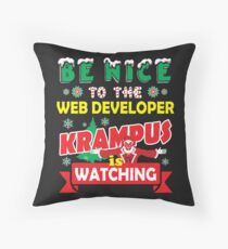 Be Nice To The Web Developer Krampus Is Watching Funny Xmas Design Throw Pillow