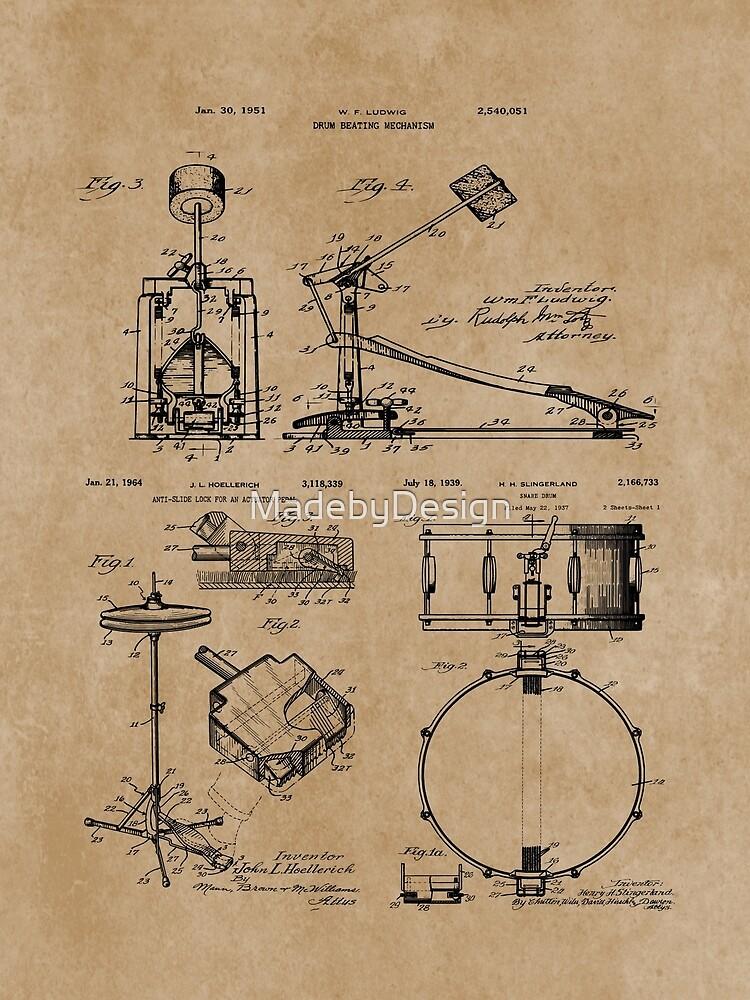 Drum Set Kit Vintage Patent Prints by MadebyDesign