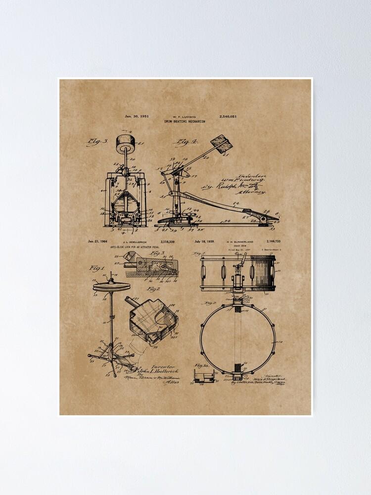 Alternate view of Drum Set Kit Vintage Patent Prints Poster