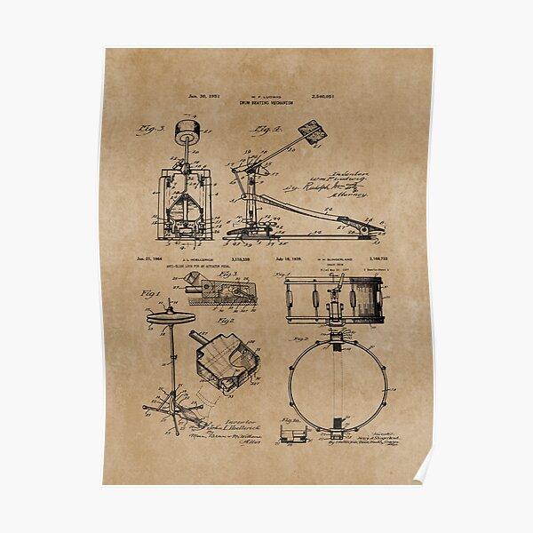 Drum Set Kit Vintage Patent Prints Poster