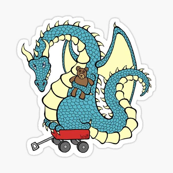 Dragon with a Wagon (blue) Sticker