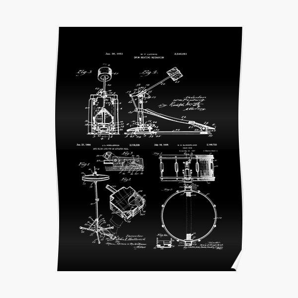 Drummer Gift Vintage Patent Drawings Drum Set Poster