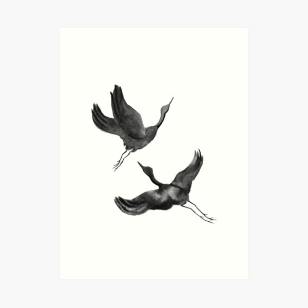 Flying Cranes Art Print