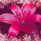 Red Lily With Festive White Gold Snow by hurmerinta