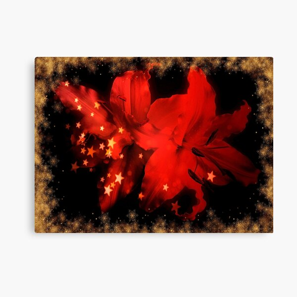 Festive Red Lilies With Gold Snow And Stars Canvas Print