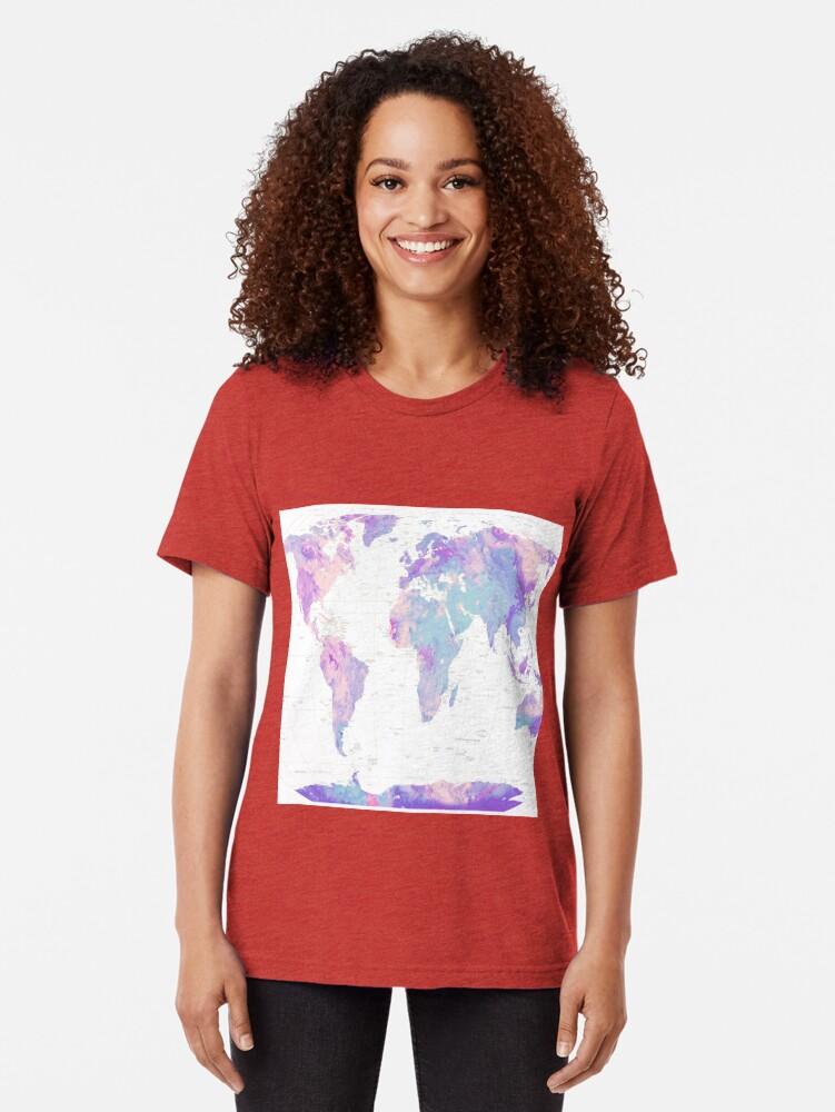 Alternate view of Unicorn Earth Map Tri-blend T-Shirt